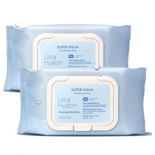 Очищающие салфетки с гиалуроновой кислотой Missha Super Aqua Ultra Hyaluron Cleansing Water Wipes-фото