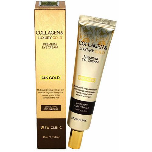 Премиальный крем для кожи вокруг глаз с коллагеном и золотом 3W Clinic Collagen & Luxury Gold Premium Eye Cream-фото