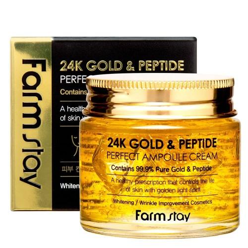 Ампульный крем с золотом и пептидами Farm Stay 24K Gold & Peptide Perfect Ampoule Cream -фото
