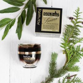 Антивозрастной крем с секретом черной королевской улитки FarmStay Gold Snail Premium Cream