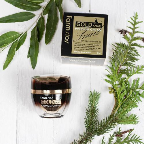 Антивозрастной крем с секретом черной королевской улитки FarmStay Gold Snail Premium Cream-фото
