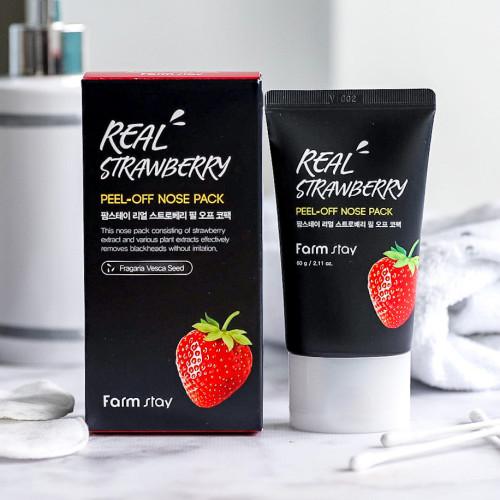 Маска - плёнка для носа с экстрактом клубники FarmStay Real Strawberry Peel - Off Nose Pack-фото