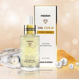 Антивозрастной сывороткой с коллагеном, жемчугом и золотом Medera 24K Gold Pearl Serum