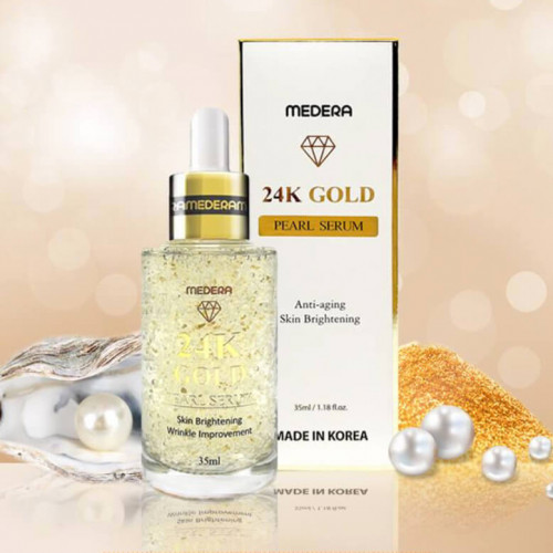 Антивозрастной сывороткой с коллагеном, жемчугом и золотом Medera 24K Gold Pearl Serum-фото