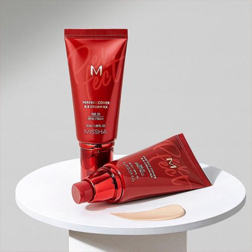 Увлажняющий ВВ крем с гиалуроновой кислотой Missha Perfect Cover B.B Cream RX SPF42/PA++++ No. 21-фото