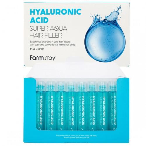 Увлажняющие филлеры для волос с гиалуроновой кислотой Farm Stay Hyaluronic Acid Super Aqua hair filler 10 штук-фото