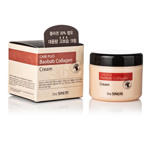 Крем для восстановления кожи с гидролизованным коллагеном и экстрактом баобаба The SAEM Care Plus Baobab Collagen cream-фото