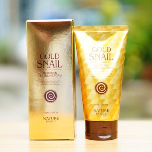 Пенка для умывания с экстрактом улитки Welkos Nature Inside Gold Snail Nutrition Cleansing Foam-фото