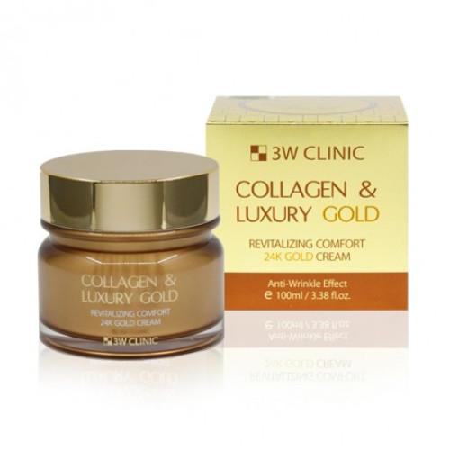 Антивозрастной крем для лица 3W CLINIC Collagen & Luxury 24K Gold Cream-фото