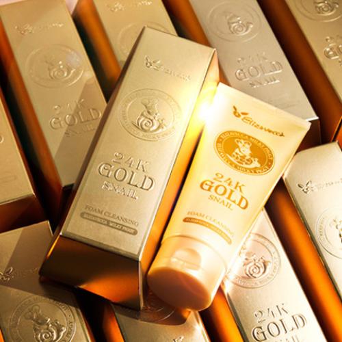 Очищающая пенка с муцином улитки и 24К золотом Elizavecca 24 Gold Snail Foam Cleansing-фото