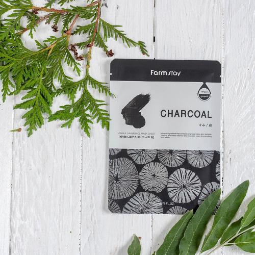 FarmStay Visible Difference Mask Sheet Charcoal-фото