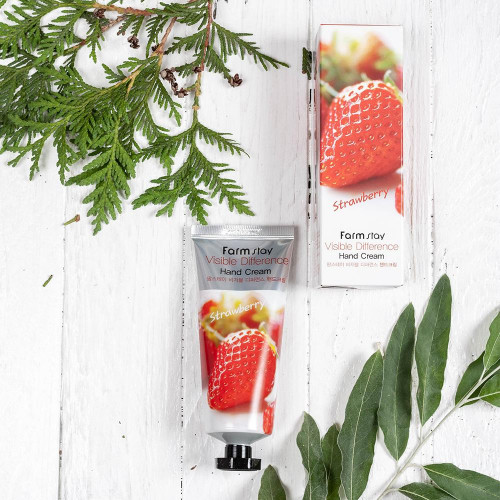Крем для рук с экстрактом клубники FarmStay Visible Difference Strawberry  Hand Cream-фото